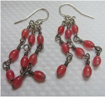 Tarnished silver earrings with beads